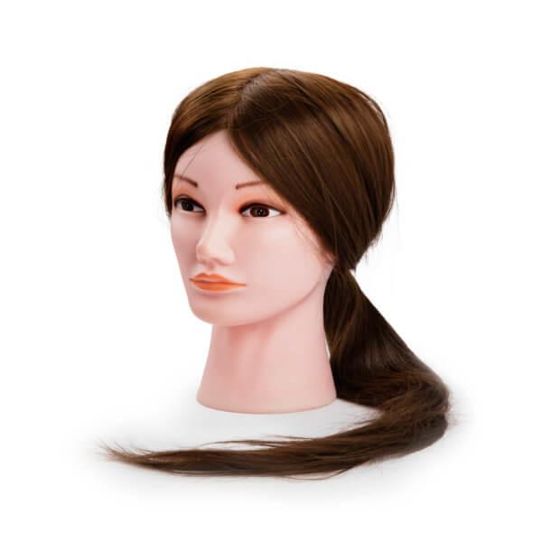 Foto Manekena galva XL sintētiski brūni mati 55-60cm 9868