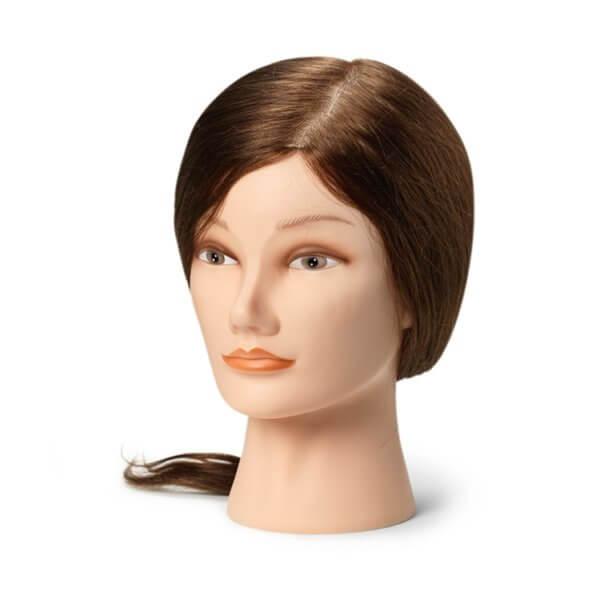 Foto Manekena galva frizieriem 35-40cm dabīgi, brūni mati 9860
