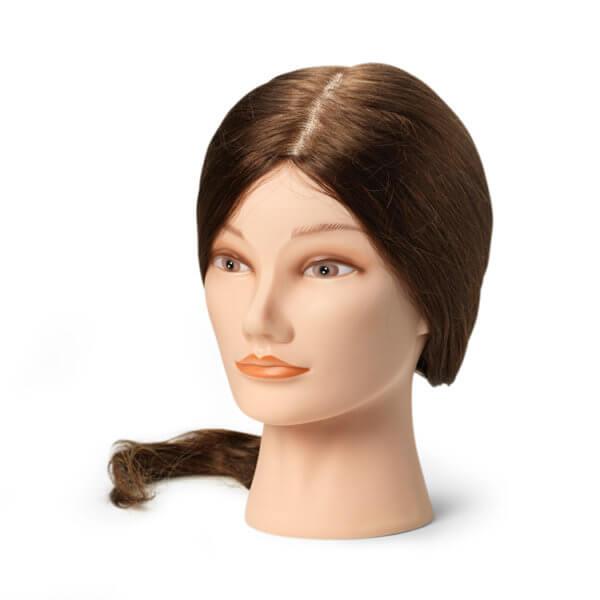 Foto Manekena galva frizieriem L 45-50cm dabīgi, brūni mati 9861