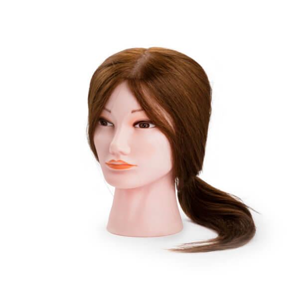 Foto Manekena galva sintētiski mati M 35-40cm, brūni, 9868
