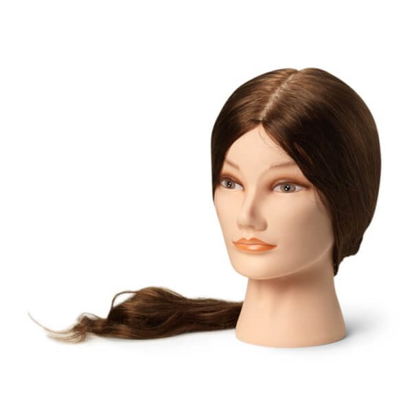 Foto Manekena galva frizieriem XL 55-60cm dabīgi, brūni mati 9863