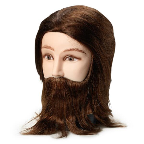 Foto Manekena galva frizieriem vīriešu 20cm dabīgi, brūni mati 9862