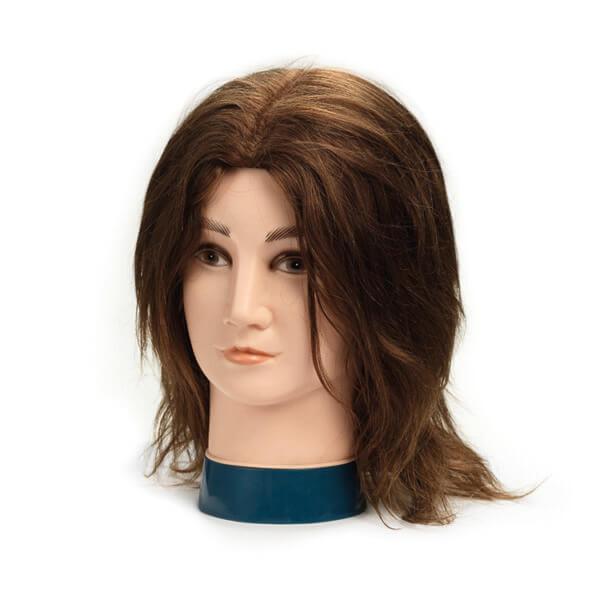 Foto Manekena galva frizieriem vīriešu 20cm dabīgi, brūni mati 9864