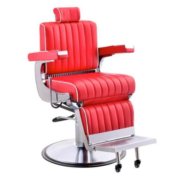 Foto Belgrano barber krēsls sarkans 1