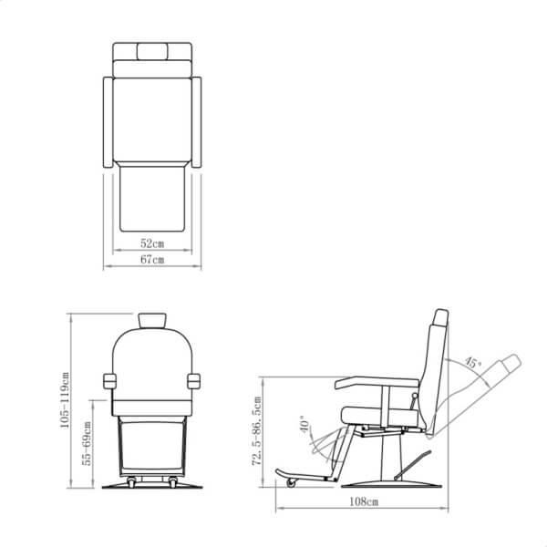 Attēls Giulio barber krēsls melns 6