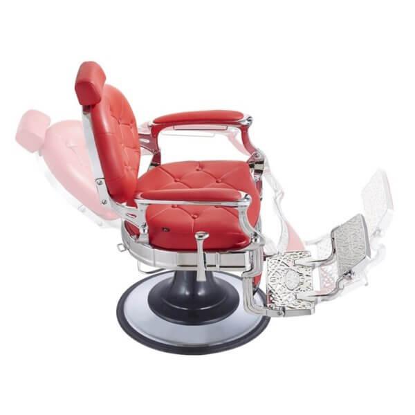 Foto Vanquish Chrome barber krēsls sarkans 4