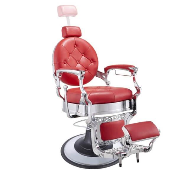Foto Vanquish Chrome barber krēsls sarkans 6