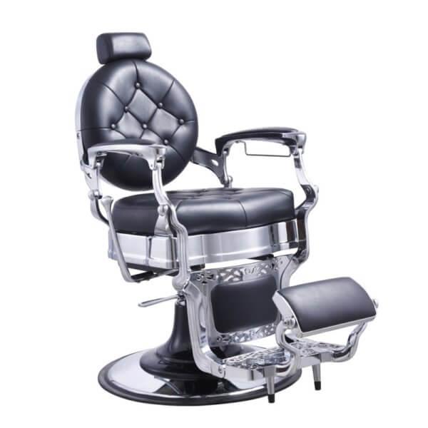 Foto Vanquish Chrome barber krēsls melns 1